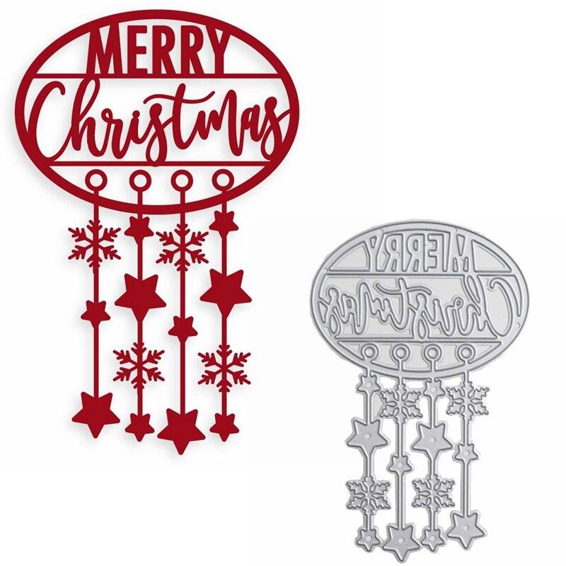 Troqueles de corte de Metal de Windbell para Navidad, colgante de estrella y copo de nieve, troqueles de Feliz Navidad para hacer tarjetas DIY, nuevas 2019 tarjetas artesanales