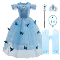 kids princess dress up with butterflies girls cinderella costume carnival outfits birthday clothes children party fancy disguise