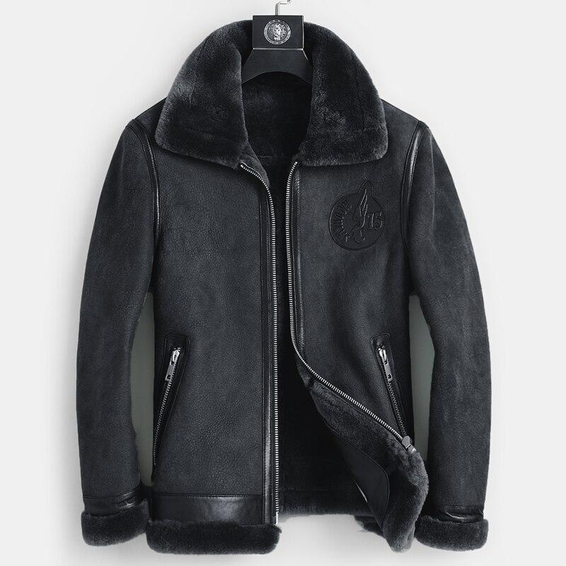 2020 Fashion High Quality Real Sheepskin Fur Men Coat Genuine Full Pelt Sheep Shearling Male Winter Leather Bomber Jacket