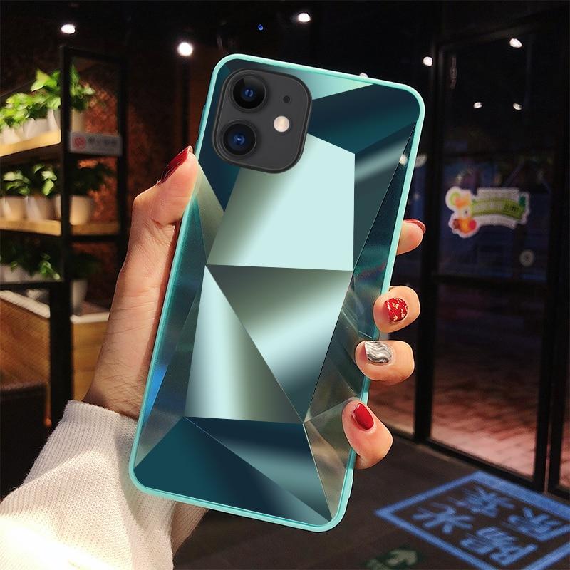 Diamante 3d espelho casos de telefone para iphone 11 pro max caso para iphone x xr xs max 6 s 7 8 plus capa traseira para iphone 10 embalagem