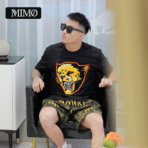 new arrival oversize street couture authentic lion embroidery long staple cotton men's short sleeve stylist round neck t-shirt