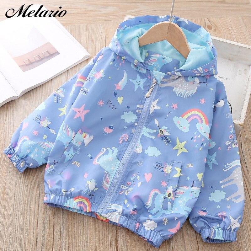 Chaquetas de otoño para niñas de Melario, abrigos con capucha con diseño de arco iris de unicornio, chaquetas rompevientos para niños, chaquetas de primavera para niñas, abrigos para niños