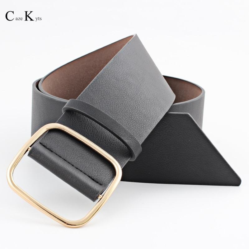 Caze kyts 2020 nova moda feminina cinto preto de luxo punk cinto largo de alta qualidade pino gesp cinto de metais cinto koe