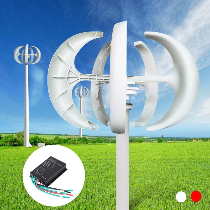 600W 24V Wind Turbines Generator W/Controller Lantern Vertical 5 Blades Motor Kit For Home Hybrids Streetlight Electromagnetic