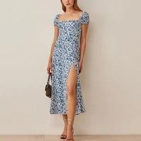 2021 floral summer dress women casual square collar maxi long dress for woman vintage blue split dresses vestidos cothing