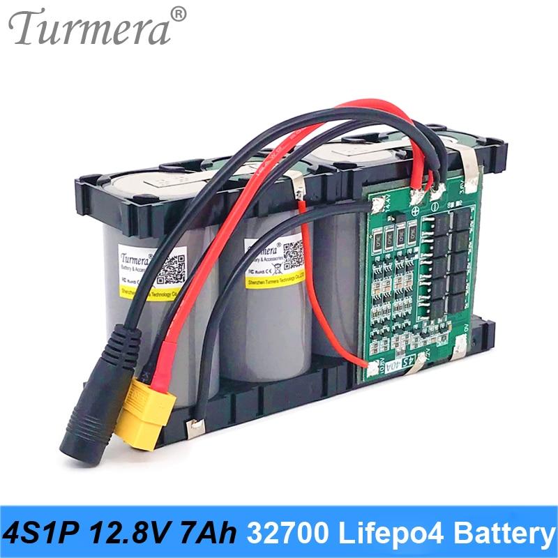 Turmera 32700 Lifepo4 بطارية حزمة 4S1P 12.8V 7Ah مع 4S 40A متوازن BMS للكهرباء قارب و دون انقطاع امدادات الطاقة 12V