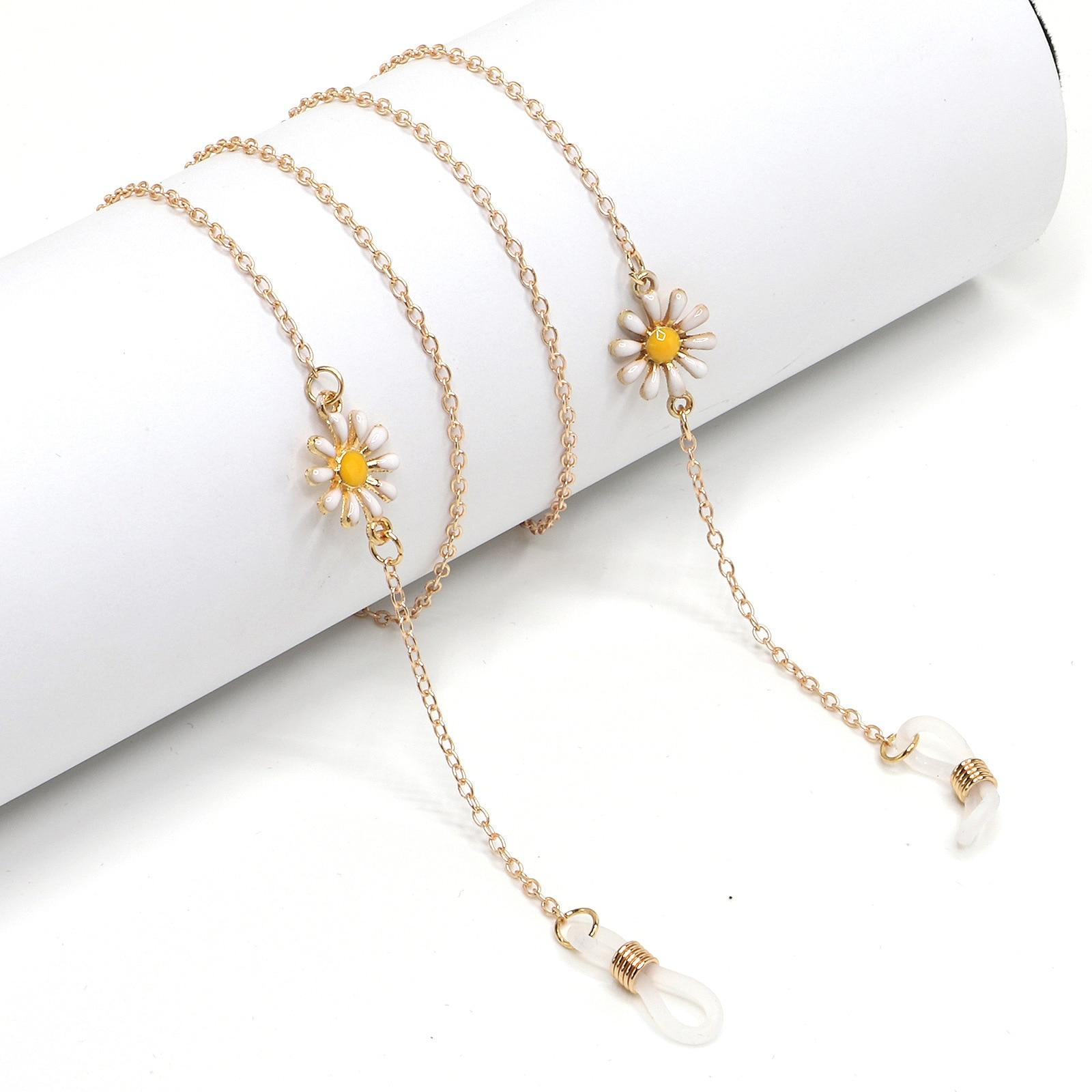 Óculos femininos luxuosos, feitos de metal antiderrapante, dourado, com pingente de flor, pequena, fofa, acessórios para mulheres