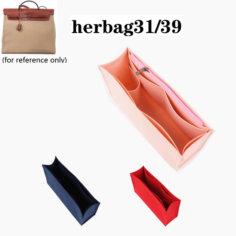 For Herbag 31/39 handbag Makeup bag Organize zipper bag insert base shaper felt Toiletry Storage Bags travel cosmetic bag girl