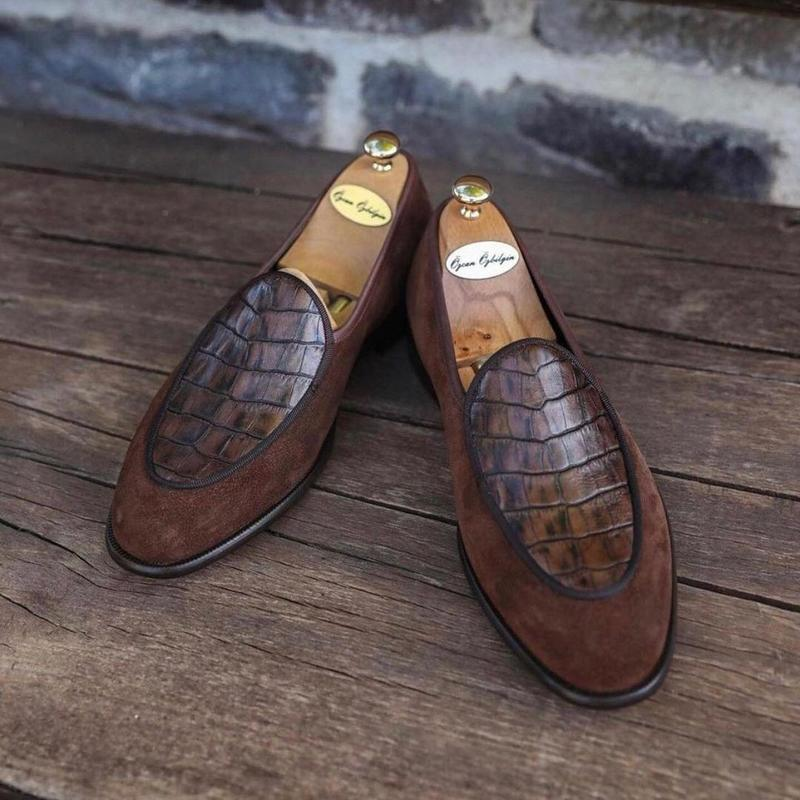 2021 New Men's Shoes Fashion Casual Business Solid Color PU Crack Grid Stitching Faux Suede Simple and Comfortable Loafers HL449