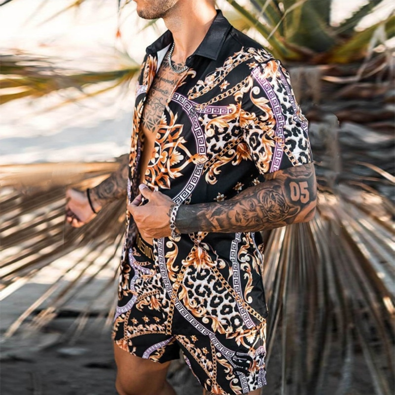 National Style Fashion Hawaiian Print Short Sleeve Shirt Set Men's Beach Leopard Print Shorts Beach Shirt Set Two-piece S-3XL