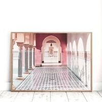 islamic architecture peachy pink morocco door posters and prints canvas print modern gate art painting wall decoration picture