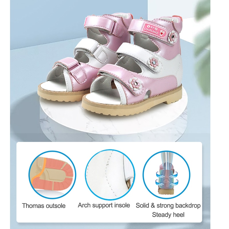 Ortoluckland Baby Girl Summer Pink Sandals 2021 Children's Fashion Leather Orthopedic Walking Shoes For Kids Toddler Small Sizes enlarge