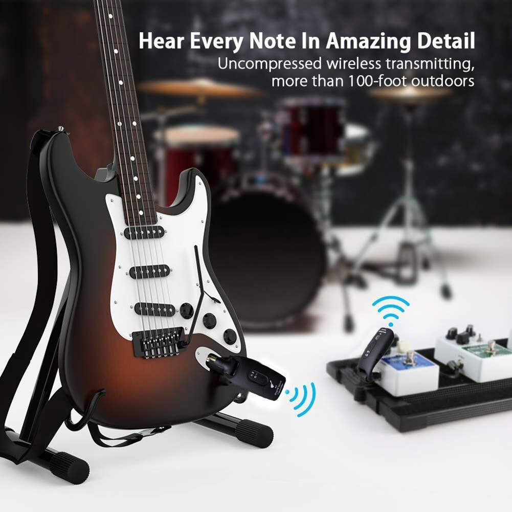 2,4 Ghz Sistema de guitarra inalámbrica transmisor de Audio Digital Receptor incorporado batería recargable 6 canales guitarra eléctrica bajo