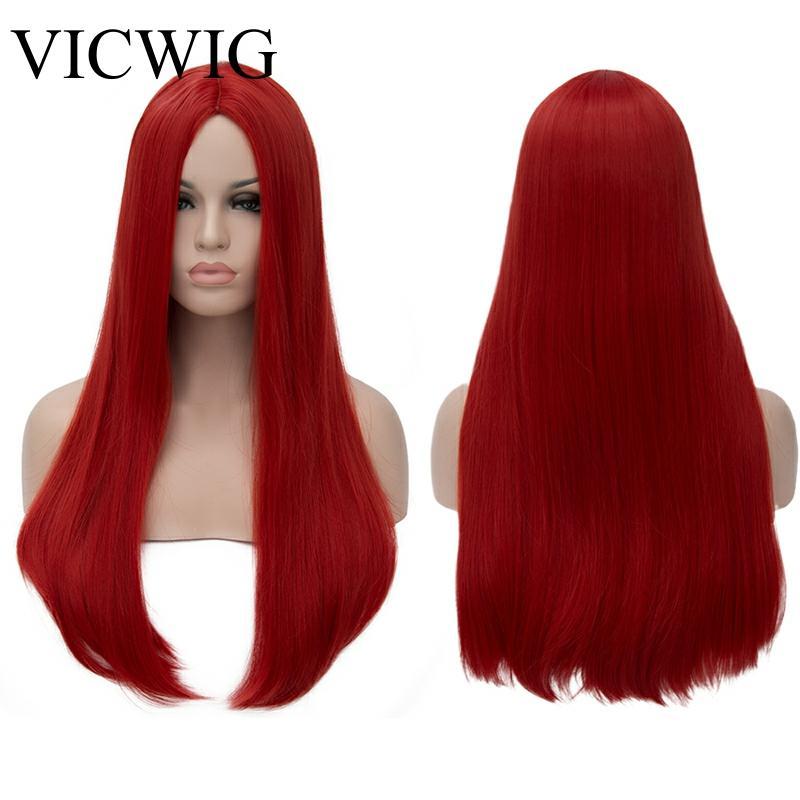 Peluca VICWIG de 24 pulgadas de largo pelo liso rojo plateado negro gris blanco Rubio verde peluca sintética de la parte media de las pelucas de las mujeres