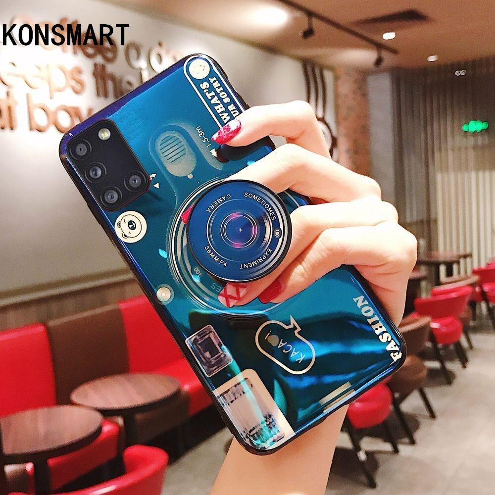 KONSMART, funda para cámara de moda para Samsung Galaxy A31 M31 M21 M11, funda de silicona suave con soporte para teléfono, funda para Samsung M31 A31 M11 M21