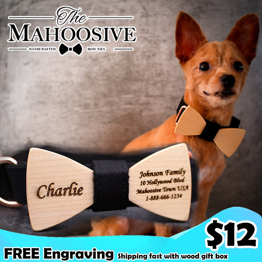 Dog Bow tie Collar Personalized Custom Nylon Pet Dog Tag Engraved Puppy Cat ID Tag Nameplate Collars For Small Large Dogs personalized dog collar nylon print dog collars customized puppy pet collar engraved name id for small medium large big dogs pug