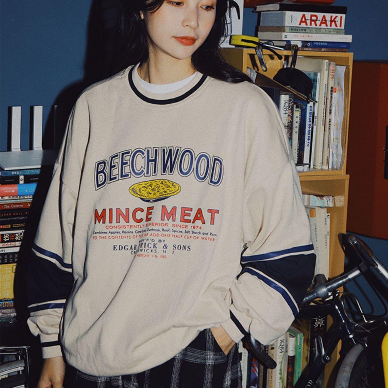 Preppy نمط العلامة التجارية خمر إلكتروني طباعة بلوفر بياقة واسعة للمراهقين الفتيات النساء طويلة الأكمام بلايز جديد الكورية Harajuku الملابس