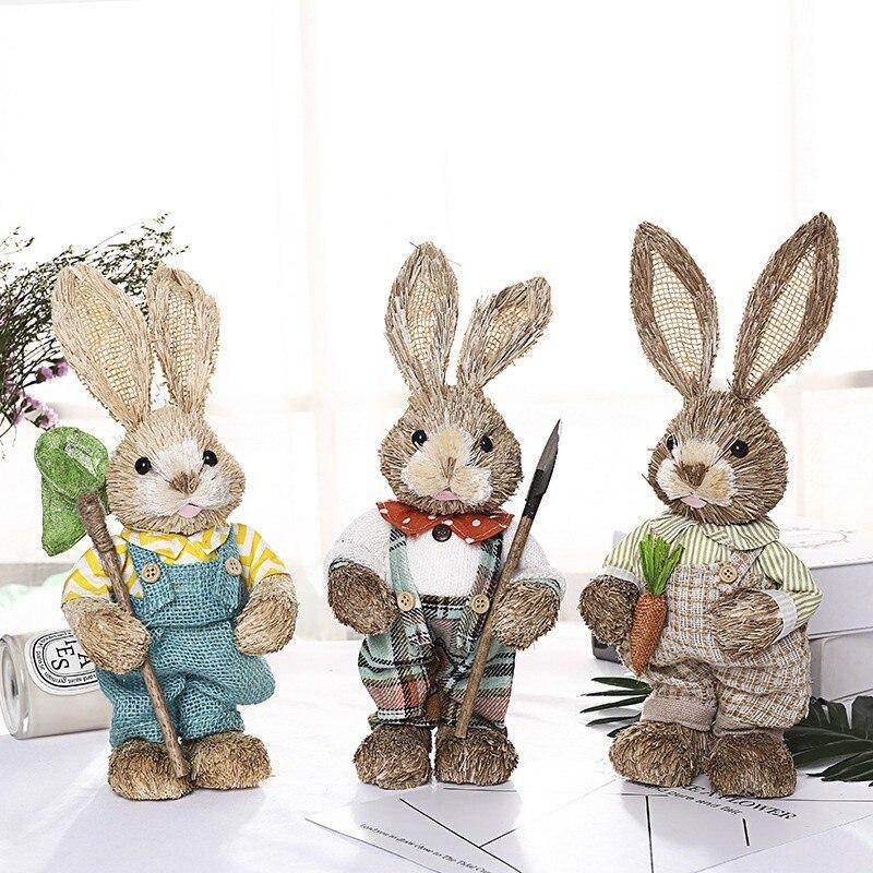 DIY conejo de paja Artificial decoración de Fiesta Temática de Pascua decoración encantadora del jardín del hogar Decoración divertida de Pascua regalo bonito