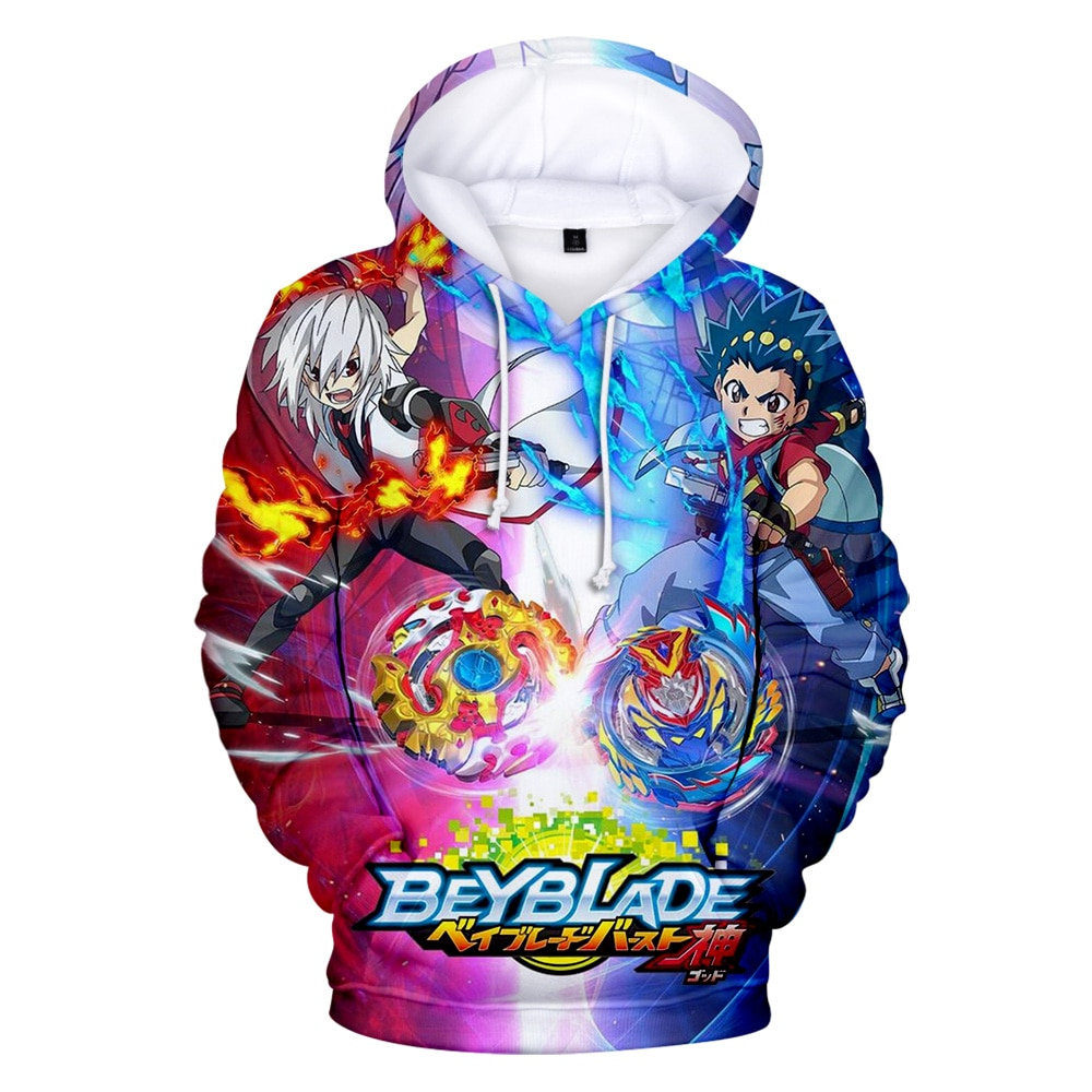 Japón anime Beyblade Burst Evolution 3D Sudadera con capucha en niños/niñas de manga larga Invierno Caliente popular streetwear moda tops