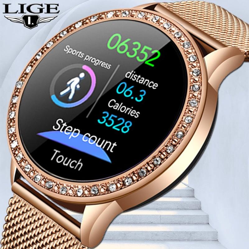 ساعة ذكية بشاشة ملونة جديدة لعام 2021 للنساء والرجال ساعة ذكية لمتابعة اللياقة البدنية تعمل باللمس بالكامل وضغط الدم ساعة ذكية للنساء ساعة ذكي...