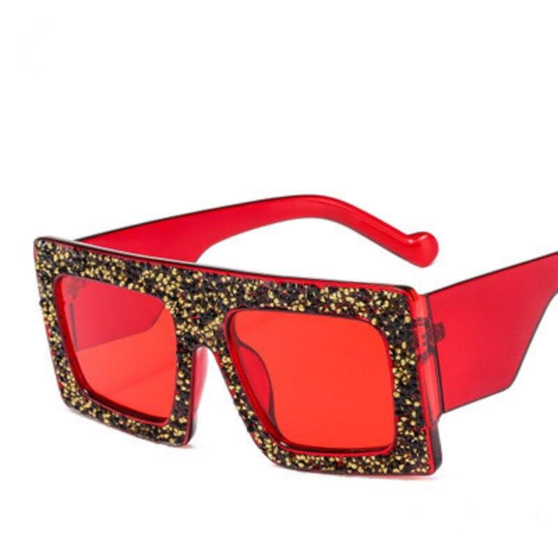 Nuevas grandes gafas cuadradas para mujer 2020, gafas de sol de lujo de rhinstone, gafas de sol retro de gran montura con diamantes, gafas rojas