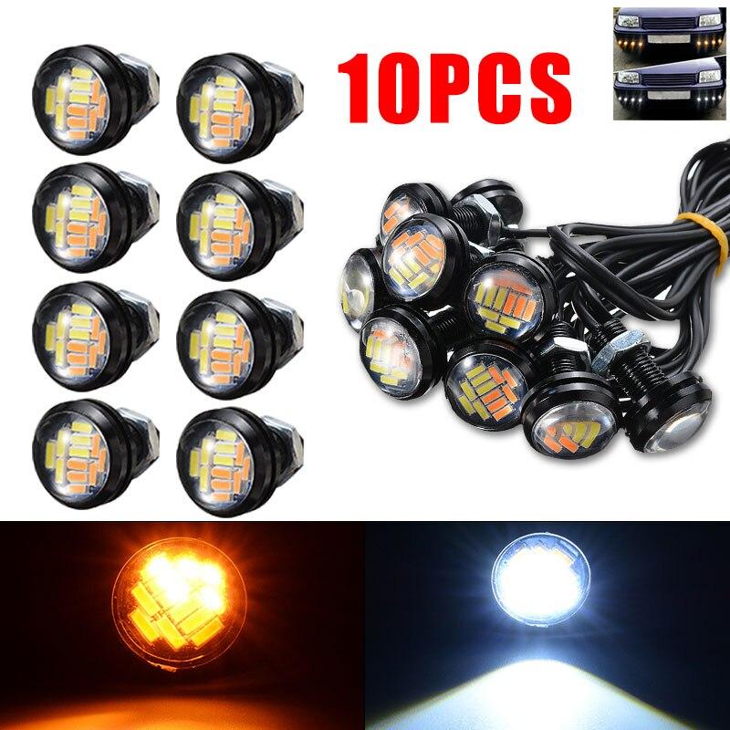 10 Uds 4014 12LED ojo de águila de señal de vuelta de luz ámbar blanco Switchback día tiempo lámpara DIY Accesorios