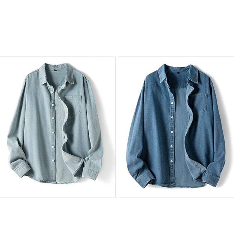 Men's long-sleeved solid denim shirt fashion brand Classic retro denim Pocket Business shirt Spring and Autumn Tops