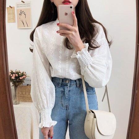 Рубашка женская из хлопка 2021, блузка с длинным рукавом в стиле оверсайз, белая Повседневная элегантная винтажная блузка, свободного покроя, лето   Женская одежда   АлиЭкспресс
