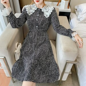 Han edition temperament will fall on the new long wave mental note waist doll brought the big pendulum type chiffon dress