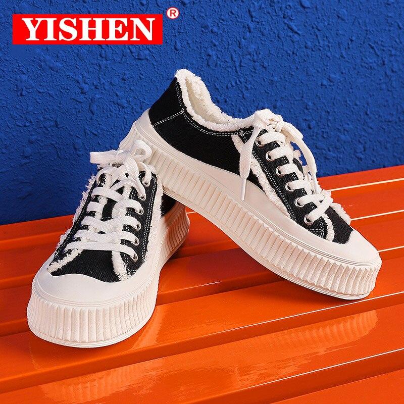 YISHEN Women Sneakers Canvas Platform Walking Shoes White Black Retro Flat Slip On Vulcanized Female