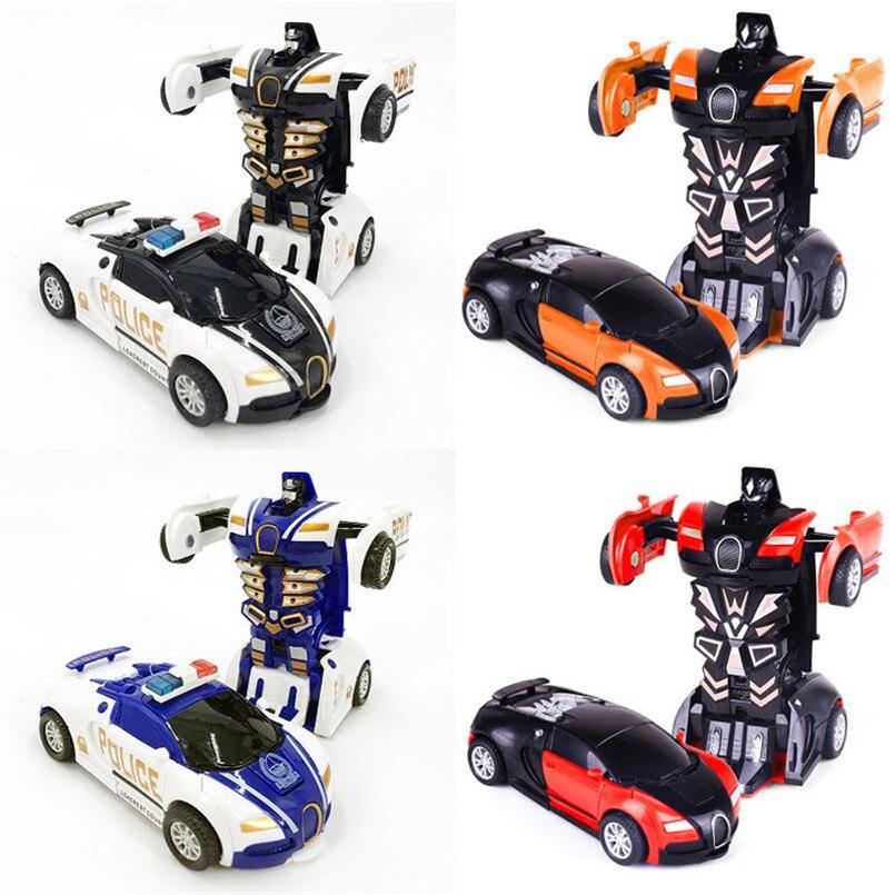 2 en 1 coches de juguete de desformación de colisiones de una sola tecla, Robot de transformación automática, vehículos de plástico, modelo de juguete para niños, coche, regalo para bebés
