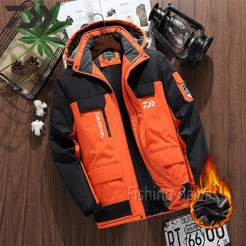 Зимняя одежда для рыбалки Daiwa водонепроницаемое ветрозащитное пальто для рыбалки Толстовка утепленная мужская уличная одежда бархатная со...