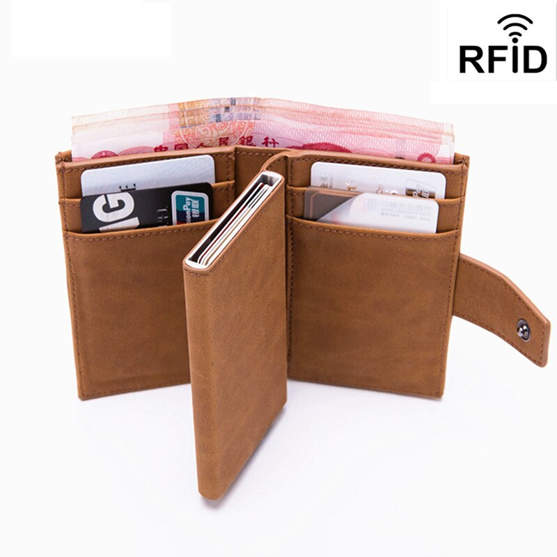 2020 New Men Card Package Anti-Degaussing Anti-Theft RFID Bank Credit PU Leather Automatic Wallet Holder Case