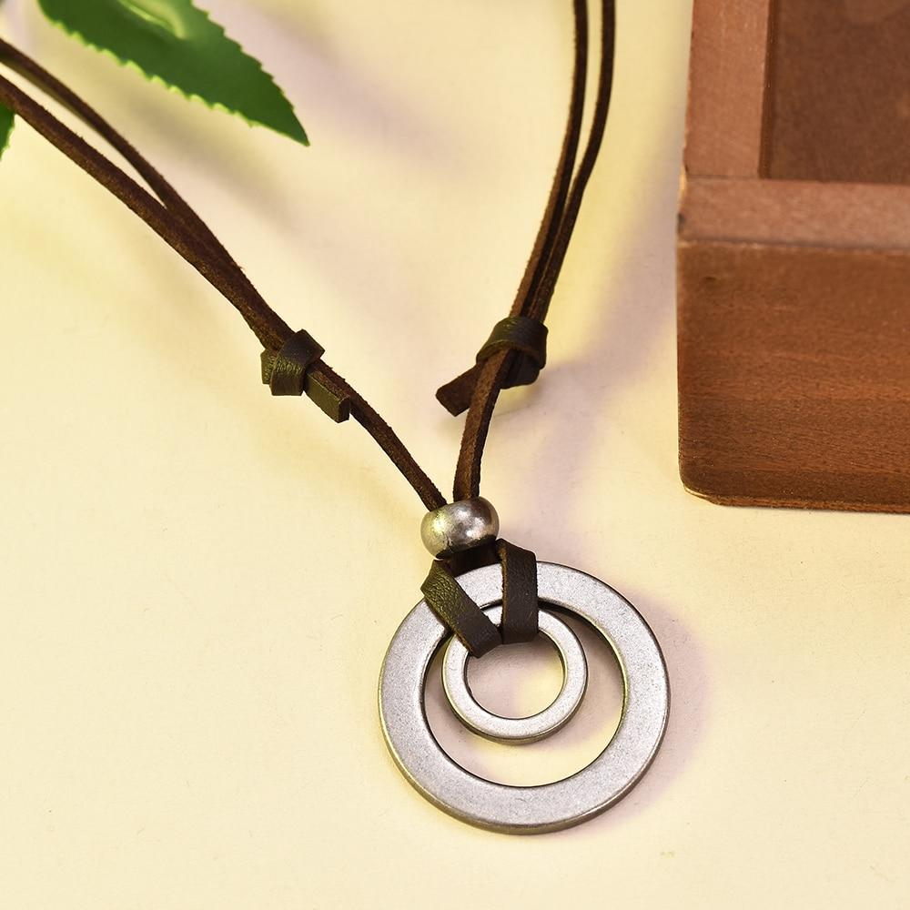 2019 colgante Vintage joyería regalo de Navidad collar inicial para hombres doble círculo ajustable collar de cordón de cuero marrón