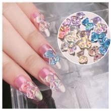 3 pièces mixte taille dégradé coloré ongles Flash Aurora strass 3D mignon ours résine Nail Art Salon manucure gelée décor outils