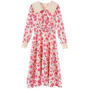 Fashion Women High Luxury Spring Pink Rose Print Lapel Floral Long-sleeved Midi Dress