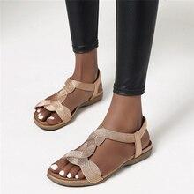 Sandales gladiateur tricotées pour femmes, à sangle en T, chaussures plates de plage, or brillant, argent, zoger, été 2020