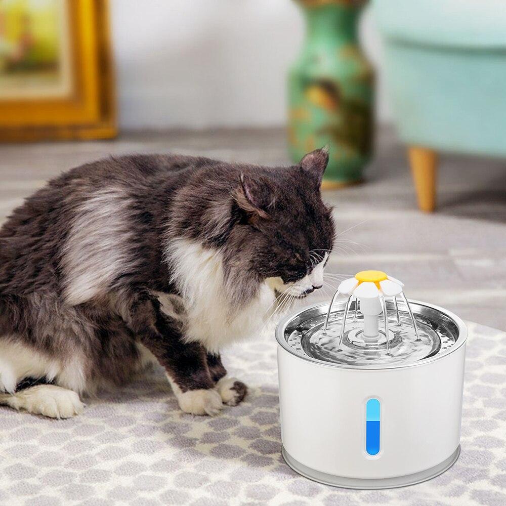 Filtro de água automático para animais de estimação, fonte automática para gato com luz led, 2,4l
