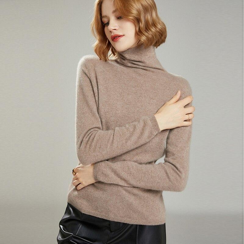 MeetMetro Women Sweater Turtleneck 35%Cashmere Pullover Women Warm Slim Wool Sweaters Knitted Sweater Jumpers Long Sleeve Top enlarge