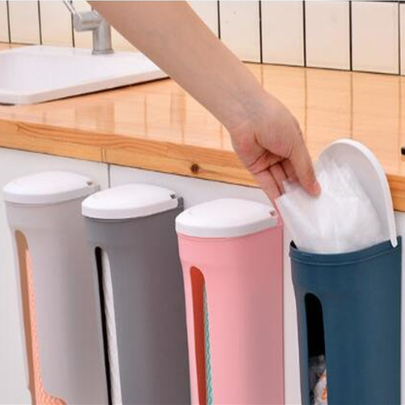 Cozinha saco de lixo rack de armazenamento casa moderna vida parede pendurado cozinha banheiro saco de plástico estilo nórdico caixa de armazenamento recipientes