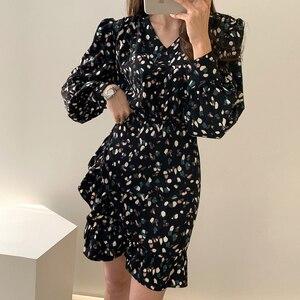 2020 Spring Autumn Korea Fashion Women Casual Spot V-Neck Long Sleeve Empire Dress Short Dress H37