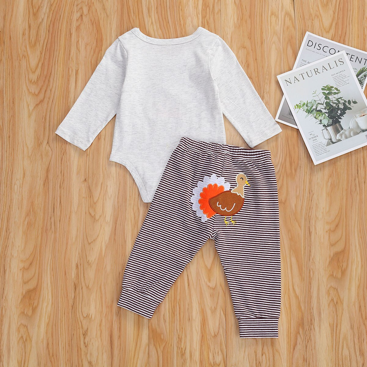 Thanksgiving Days Boys Girls Clothes Sets 0-12M Turkey Print Long Sleeve Romper Tops Striped Pants