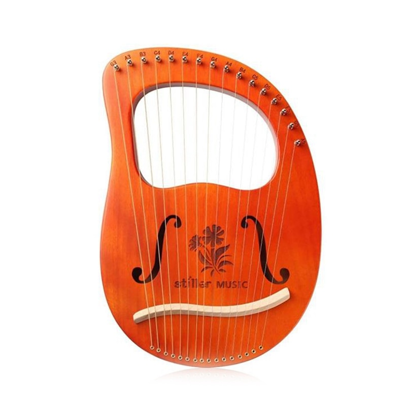 آلة Lyre Harp ، 16 سلسلة آلة الماهوجني ليري ، زهرة بيغونيا نمط القيثارة ، مع ضبط وجع ، لمحبي الموسيقى المبتدئين