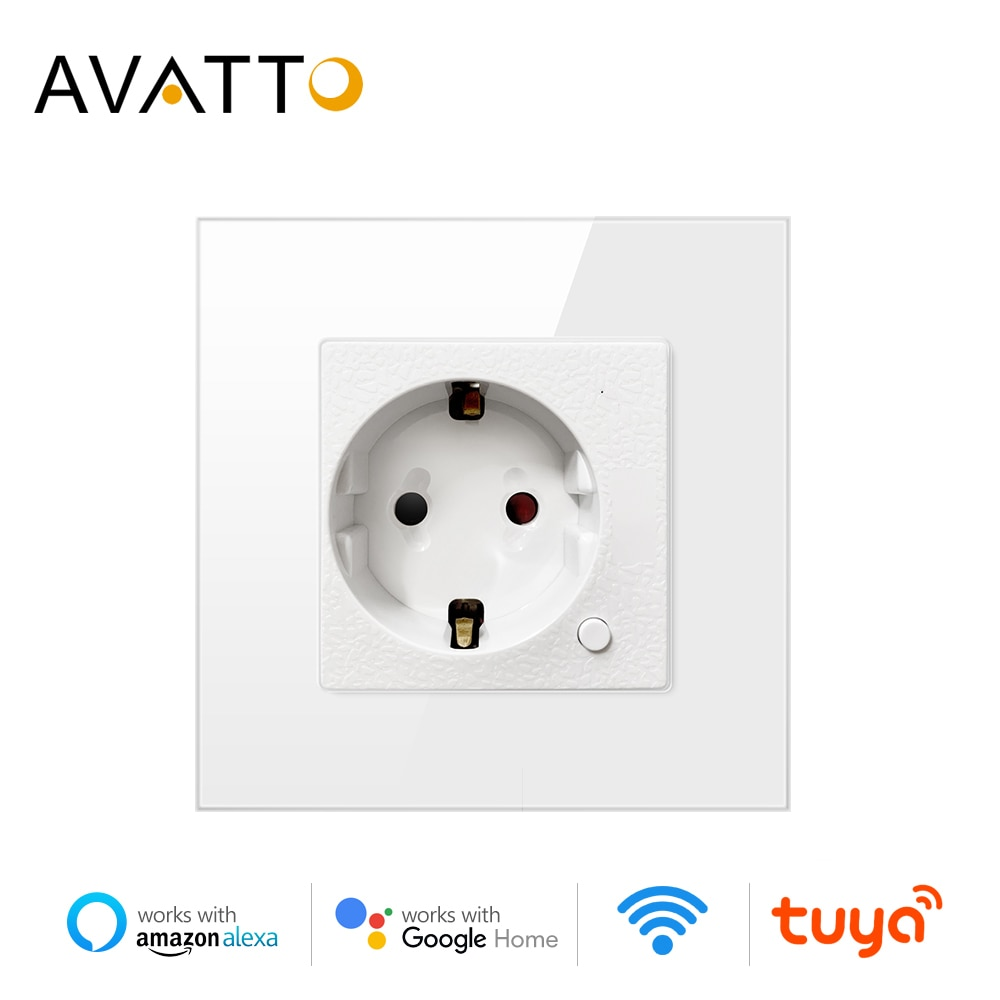 AVATTO-مقبس حائط Wifi ، معيار الاتحاد الأوروبي ، جهاز تحكم عن بعد صوتي ، يعمل مع Google Home Alexa IFTTT Tuya Smart home