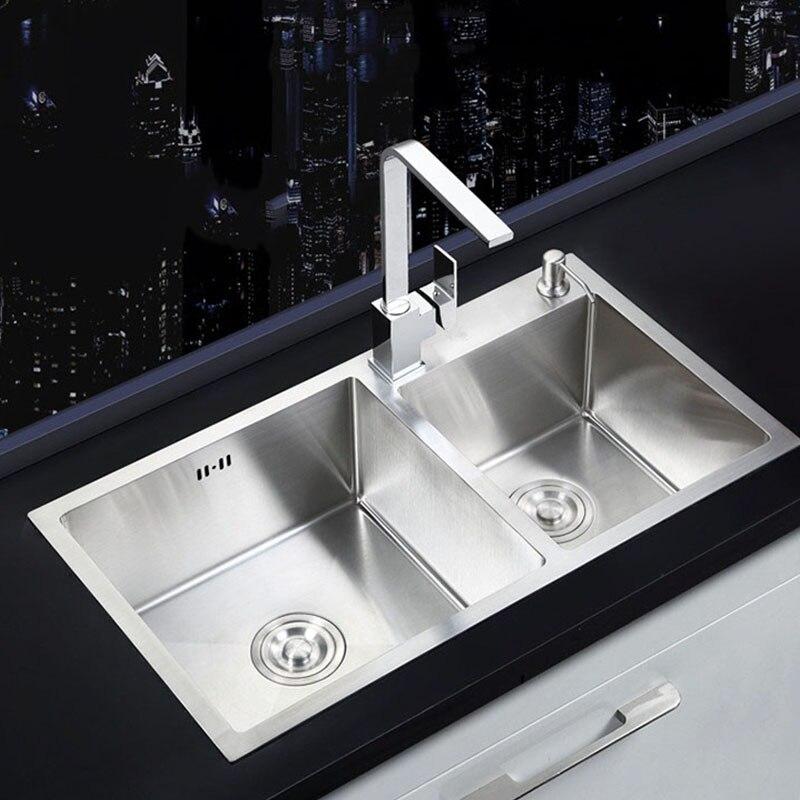 كبير مزدوج السلطانية حوض المطبخ اليدوية نحى 304 حوض الفولاذ المقاوم للصدأ فوق عداد للمطبخ تركيبات مع استنزاف الملحقات