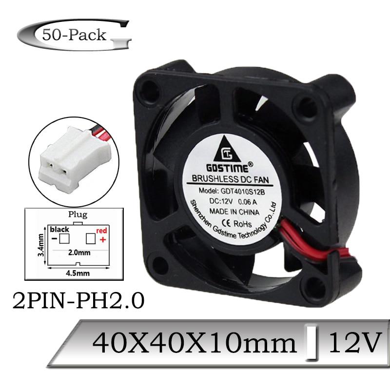 200pcs lot serviceable gdt 2pin 40mm 4010 axial fan 40mmx 40mm x 10mm dc cooling heatsink 50Pcs/Lot Gdstime DC 12V 40x40x10mm 40mm Mini Cooling Fan Air Ventilation Fan 40mmx10mm 4cm Brushless Axial 2PIN Cooler Fan