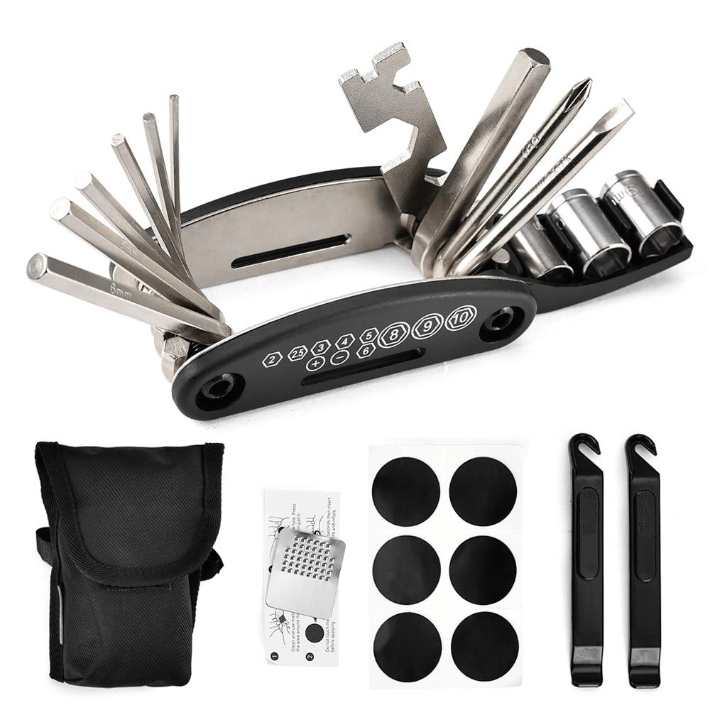 Multifunction Bicycle Repair Tool Kit Mountain Bike 16 in 1 Bike Fix Tools with Portable Bag Two Tire Lever MTB Repair Tool Set