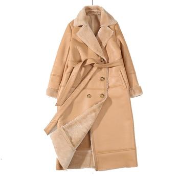 2020 Winter Genuine Leather Jacket Sheep skin Khaki Long coat Shearling Jacket Belt Warm Lamb Sheep Fur Outwear Overcoat