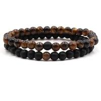 2pcsset trendy 15 color natural stone bead bracelets for menwomen charm handmade diy bracelet fashion jewelry bijoux 2020