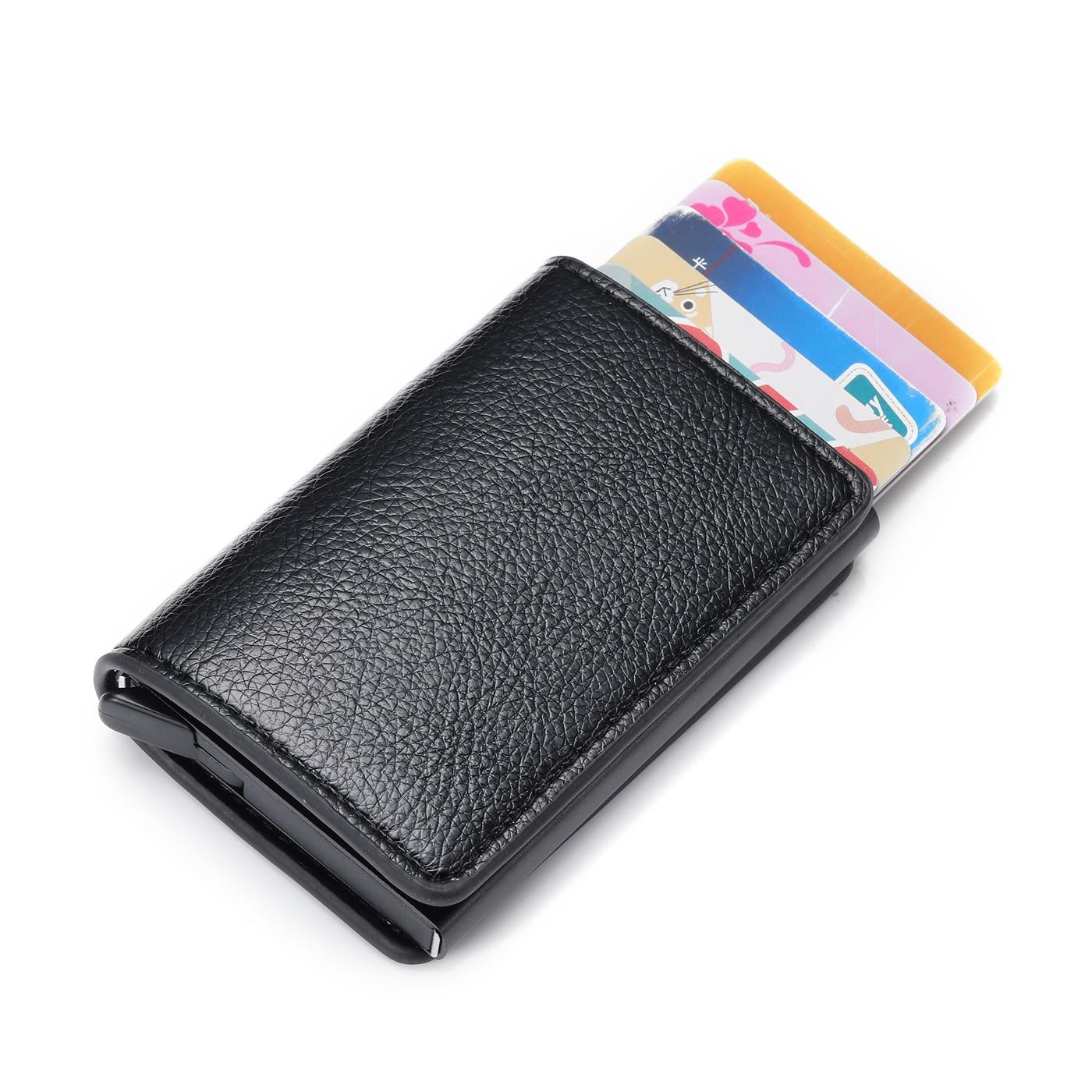 BISI GORO Minimalist Mini Wallet Men Credit Card Holders Business ID Card Case Automatic RFID Card Holder Aluminium Dropshipping